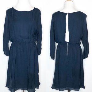 Alice + Olivia Navy Open Back Silk Dress m
